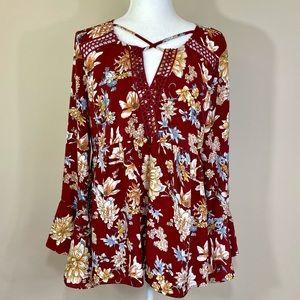 🆕 NWT Jodifl burgundy floral bell sleeve top